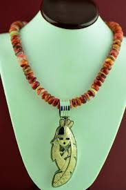 navajo 14kt gold and sterling silver kachina pin pendant and 14kt gold spiny oyster
