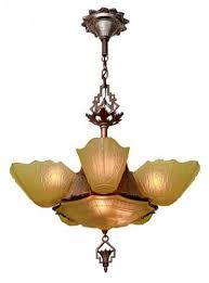 art deco 6 shade antique chandelier by markel
