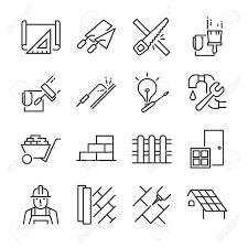 Hauptrenovierungsikonenset enthalten die symbole wie farbe wand