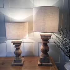 large natural wood table lamp natural drum woven shade