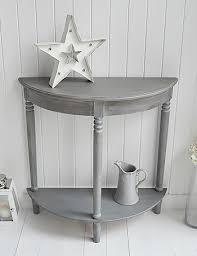 half table for hallway. British Colonial Grey Living Room Furniture, Half Moon Console Table For Hallways With Shelf Hallway I