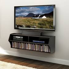 ... Wall Mounted Shelves For Tv Components Dark Brown Stained Wooden Shelf  With Bookshelf And Dvd Slots ...