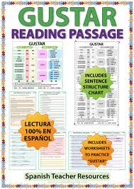 Gustar Spanish Reading Passage And Worksheets Woodward