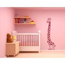 Kids Growth Chart Giraffe Wall Decal Height Wall Ruler Decal Sticker Mural Vinyl Art Home Decor 1929 Light Pink 20in X 71in