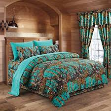 Regal Comfort The Woods Teal Camouflage King 8pc Premium Luxury Comforter, Sheet, Pillowcases, and Bed Skirt Set Camo Bedding Set for Hunters Cabin or ...
