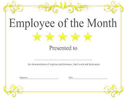 Anniversary Certificate Template Simple Free Employee Of The Month Certificate Template Best Business Job