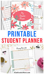 Printable Student Planner Floral A Cultivated Nest