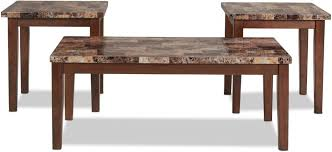 adelaide coffee table and 2 end tables warm brown with faux marble white texture farms new