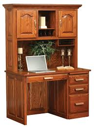 amish flat top computer desk with hutch top 48