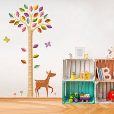 Colorful Large Tree Height Ruler Deer Wall Stickers Height Measurement Kids Room Nursery Wall Mural Poster Art Growth Chart Wallpaper Decal Canada