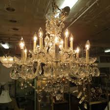 vintage antique glass and crystal 12 arm chandelier 1599