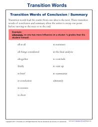 transition words and phrases lists and worksheets kreader conclusion summary transition words
