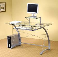 amazing glass modern simple computer desk with futuristic and modern design of computer table and cool glass computer table for minimalist and effective