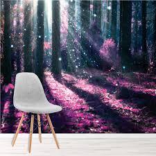 Zauberwald Fototapete Lila Baum Tapete Mädchen Schlafzimmer Foto