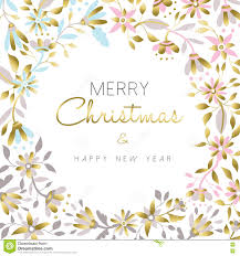 New Design Floral Merry Christmas And New Year Gold Floral Design Stock Vector