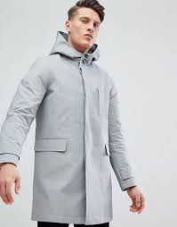 asos hooded trench coat with shower resistance in gray clothing jackets coats for men grey fn4kjziv