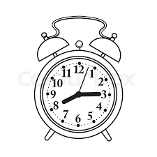 800x800 retro style og alarm clock black and white sketch style