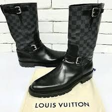 Bke Size Conversion Chart Extra Rare Louis Vuitton Ankle Buckle Boots Black Damier 10 Lv 11 Us 44 Eur Ebay