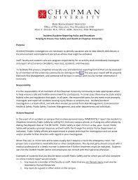 Incident Accident Reporting Policy And Procedure Helping To