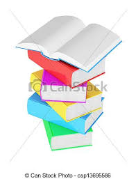 stack of multicolored books with open book on white background csp13695586