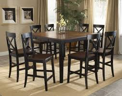 transitional distressed black counter height dining room table set 1721