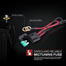 amazon com mictuning hd 300w led light bar wiring harness fuse amazon com mictuning hd 300w led light bar wiring harness fuse 40amp relay on off waterproof switch 1lead 12ft 14awg automotive