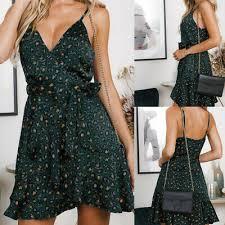 <b>2019 Summer Women Leopard</b> Print Sling Dress Boho Holiday ...