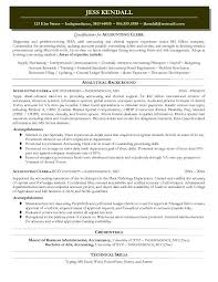 Sample Resume For Accounting Clerk Hospinoiseworksco Accounting