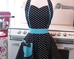 French Maid Apron <b>Polka Dot</b> with Aqua - Retro Full Apron | Ретро ...