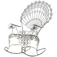Rocking chair drawing Art Victorian Lawn Furnishing Style Wrought Iron Peacock Rocking Chair For Sale 1stdibs Victorian Lawn Furnishing Style Wrought Iron Peacock Rocking Chair