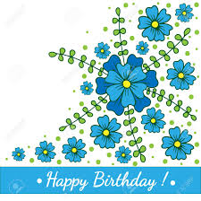Happy Birthday Card Printable Template Happy Birthday Template Greeting Card With Blue Flower And Green