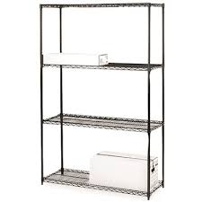 lorell industrial starter wire shelving unit 4 shelves 4000 lb capacity black 48x18x72 in