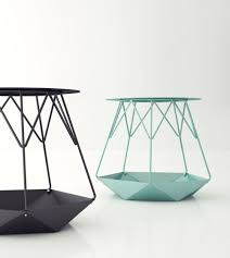 metal furniture design. stool furniture table metal structure green pastel origami triangle tube design n