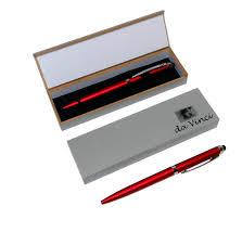 red matte finish plastic stylus pens in gift bo