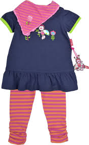 dark blue short sleeved dress for girls with beautiful flower and ladybug by sigikid pretty details like the small puffed sleeves and the apple