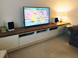long tv unit custom built ikea hack using besta units on bespoke