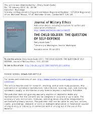 Pdf The Child Soldier The Question Of Self Defense