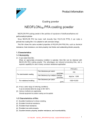 Neoflontm Pfa Coating Powder Manualzz Com