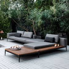modern metal outdoor furniture. Modular Chaise Lounge Sofa On Blackened Metal Frames And Soft Grey Cushions Modern Outdoor Furniture C