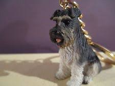 schnauzer gray uncropped key chain great gift item