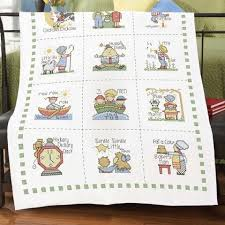 Herrschners® Nursery Rhymes Baby Quilt Top St&ed Cross-Stitch ... & Embroidery Adamdwight.com