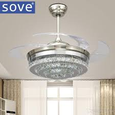 bedroom ceiling fans with remote control. Unique Control 2018 Sove Modern Led Invisible Crystal Ceiling Fans With Lights Bedroom  Folding Light Fan Remote Control Ventilador De Teto 220v From Langui  Intended E
