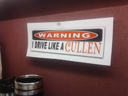 new job lifescoffeebreak new job co worker saw the sticker on my car says i drive like a cullen thought this would be funny to hang on my desk 128578