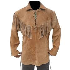 details about men brown suede western cowboy leather jacket with fringe