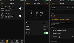 alarm add alarm and sound screens on iphone