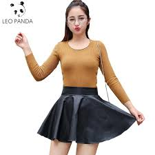2019 whole hot xs l fashion women faux leather skirt high waist mini skirt above knee solid color flared pleated pu short skirt sun127 from felix06