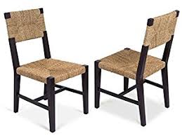 birdrock home rush weave side chair set of 2 traditionally woven kitchen dining room chair wooden furniture fully embled black finish