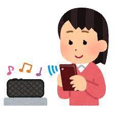 無線スピーカーで音楽を聴く人のイラスト(女性) | かわいいフリー素材集 いらすとや