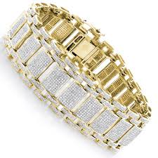 mens iced out pave diamond bubble bracelet 8ct 10k or 14k gold yellow image
