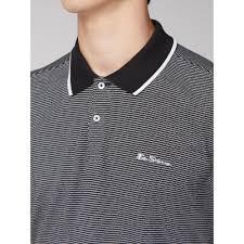Ben Sherman Textured Stripe Polo Black 2 5xl